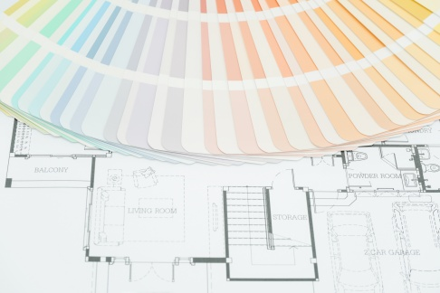 colors and material samples on architectural drawings of the modern house